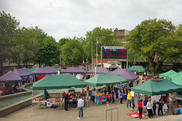School market in Swansea City Centre