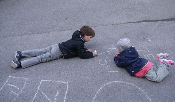 children playing on the ground