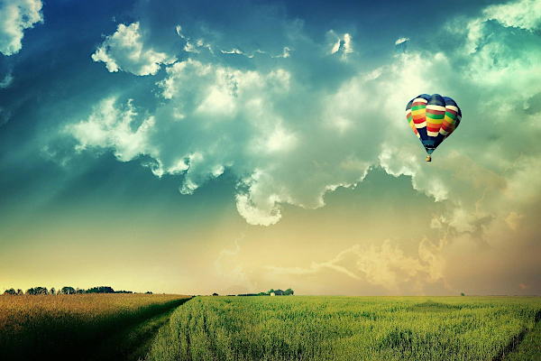 Air balloon over field