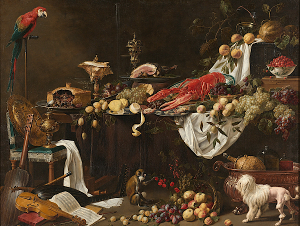 Still Life with Parrot by Adriaen van Utrecht